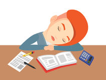Female student sleeping at the desk with book. Stock Photography