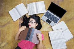 Female Student Sleeping near The Laptop Royalty Free Stock Photography