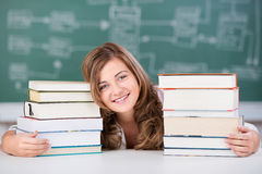 Female Student With Stack Of Books At Table Royalty Free Stock Photo