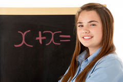 Female Student Standing Next To Blackboard Royalty Free Stock Image