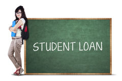 Female student and student loan text 1 Stock Image