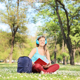 Female student studying on campus Stock Photography