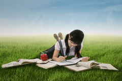 Female student studying on grass 1 Stock Photography