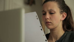 Female student studying and problemsolving stock video footage