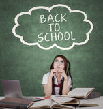Female student and text of back to school Royalty Free Stock Images