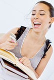 Female student Text Messaging Stock Photo