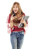 Female student texting Stock Image