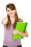 Female student with thumbs up Stock Photos