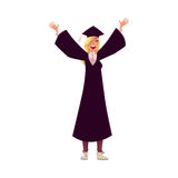 Female student in traditional cap and gown celebrating successful graduation Royalty Free Stock Photography