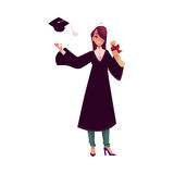 Female student in traditional gown throwing cap and holding diploma Stock Photos