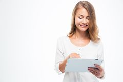 Female student using touch pad Stock Image