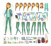 Female student - vector cartoon people character constructor. On white background. Pretty girl in casual clothes in different mood, body parts for animation vector illustration
