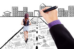 Female student walking on learning doodles Royalty Free Stock Image