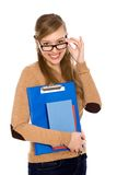 Female student wearing glasses Royalty Free Stock Photos