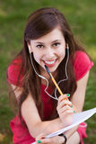 Female student with workbook Royalty Free Stock Photos