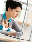 Female student works on the laptop Royalty Free Stock Image
