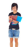 Female student, writing in copybook, isolated Royalty Free Stock Images