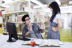 Female students angry to her partner Stock Image