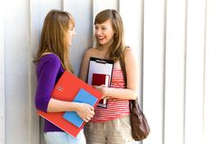Female students with books Royalty Free Stock Photo