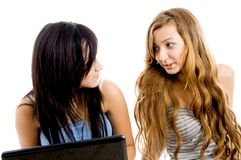 Female students busy talking Stock Image