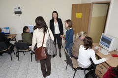Female students in classroom Royalty Free Stock Photos