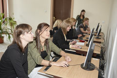 Female students in classroom Stock Photos