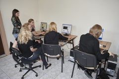 Female students in classroom Stock Image