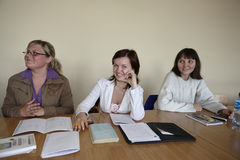 Female students in classroom Stock Images
