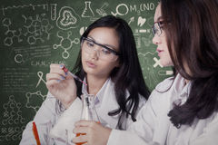Female students doing research together in lab Stock Photography