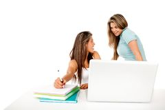 Female students with laptop Royalty Free Stock Photos