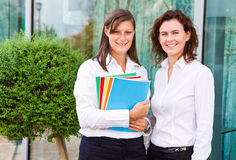 Female students with notebook Stock Image