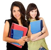 Female students with notebooks Stock Photography