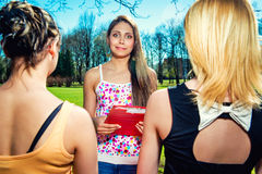 Female students outdoors. Portrait of female students outdoors Royalty Free Stock Photo