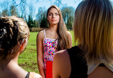 Female students outdoors Royalty Free Stock Image