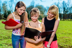 Female students outdoors. Portrait of female students outdoors Stock Photos