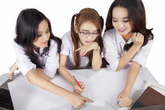 Female students study together Royalty Free Stock Images