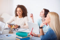 Female students studying in the class Stock Image