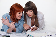 Female students working together Royalty Free Stock Photo