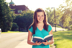 Female studying on campus Royalty Free Stock Photography