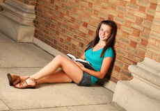 Female studying on campus Stock Photography