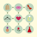 Female subjects. Icons that depict subjects related to the woman. Dress, perfume package from a clothing store, shoes, ring, rose. Lips and heart as a symbol of Stock Photography
