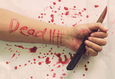 Female suicide with dead messages Royalty Free Stock Images