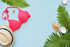 Female summer bikini swimsuit and accessories collage on blue with palm branches, hat and sunglasses. Royalty Free Stock Images