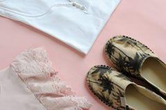 Female summer clothes arrangement Stock Photos