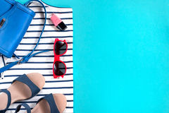 Female summer clothes collection, sea theme. Copy space, top view royalty free stock images