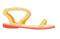 Female summer sandal on flat sole isolated illustration royalty free illustration