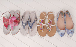 Female summer shoes, assortment,  showcase, storefront Stock Photo