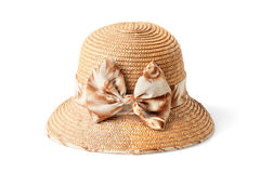 Female summer straw hat with bow isolated on white Royalty Free Stock Images