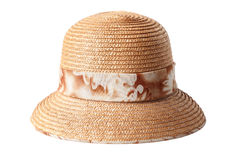 Female summer straw hat isolated on white Royalty Free Stock Photo