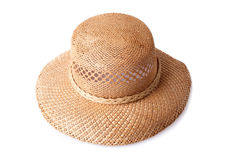 Female summer straw hat isolated on white Royalty Free Stock Photography